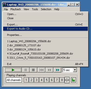 Export Audio CD using the Liberty Player