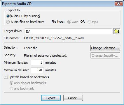 Export to Audio CD Parameters Window