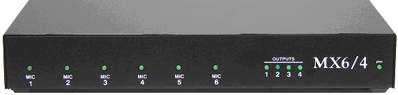 MX6/4 4 channel audio mixer, supports up to 6 XLR microphones.