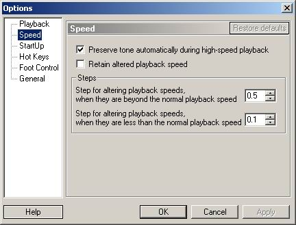 Playback configuration in View => Options => Speed