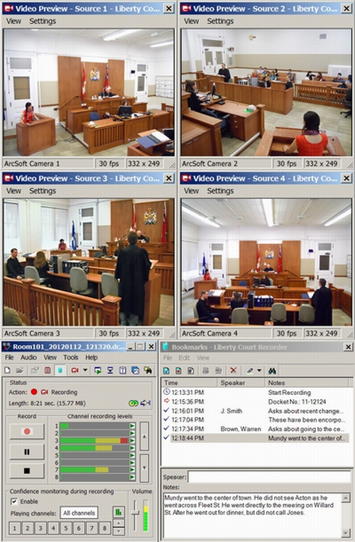 Liberty Court Recorder with Four video streams.