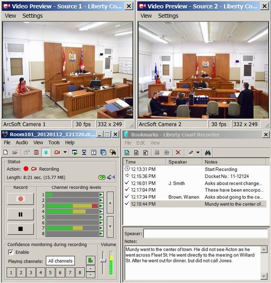 Liberty Court Recorder with multiple video streams.