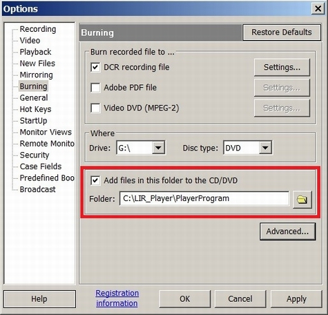 Burn options should point to the folder where the Portable Player was created
