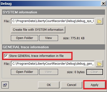 Check the box labeled Store General trace information in file